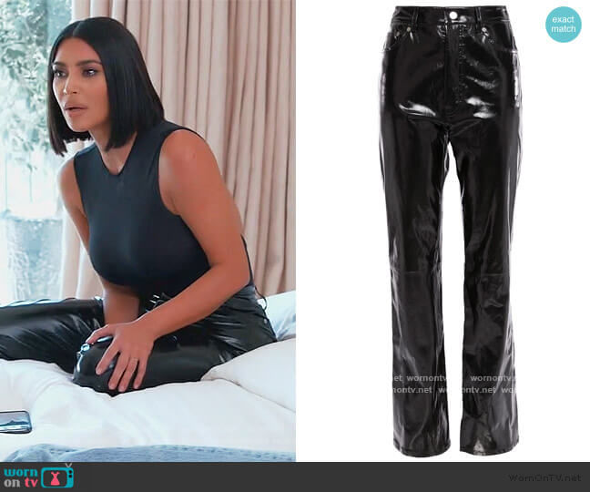 Patent-leather straight-leg pants by Helmut Lang worn by Kim Kardashian  on Keeping Up with the Kardashians