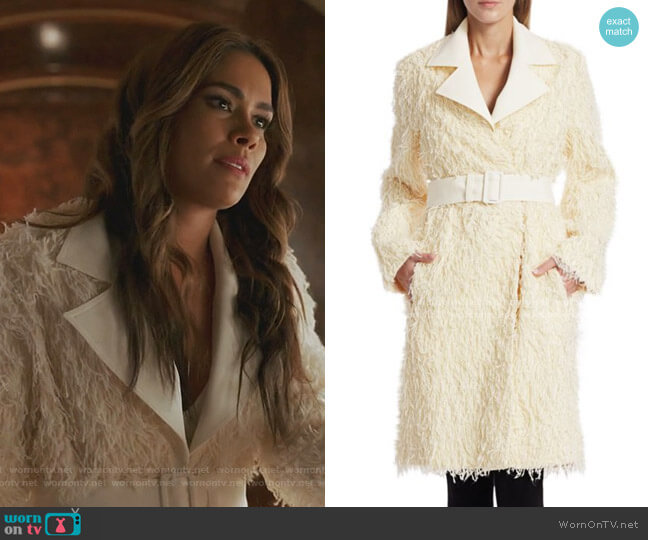 Wool Fringe Coat by Helmut Lang worn by Cristal Jennings (Daniella Alonso) on Dynasty