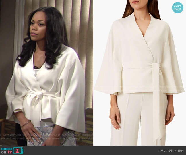Maddie Cape Jacket by Hobbs worn by Amanda Sinclair (Mishael Morgan) on The Young & the Restless