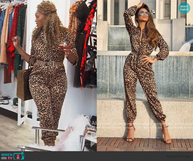 Leopard Print Zipper Drawstring Jumpsuit by Hot Miami Styles worn by Cynthia Bailey  on The Real Housewives of Atlanta