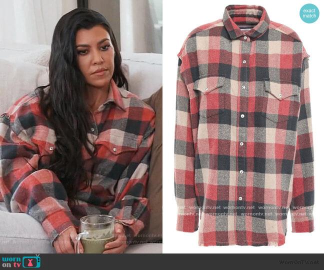 Garance checked cotton-blend flannel shirt by IRO worn by Kourtney Kardashian  on Keeping Up with the Kardashians