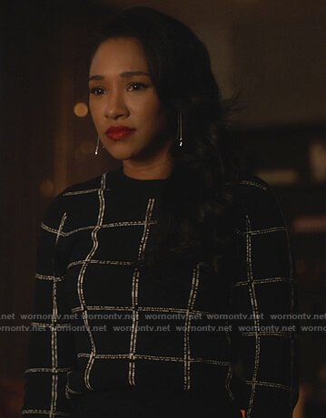Iris's black check sweater on The Flash
