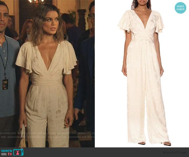 Amorini jacquard jumpsuit by Johanna Ortiz worn by Noa Hamilton (Nathalie Kelley) on The Baker & the Beauty