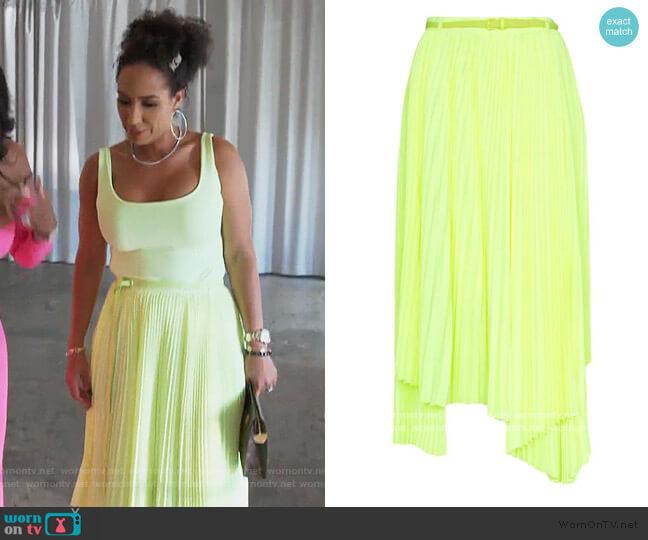 Pleated Asymmetric Hem Skirt by Juun. J worn by Tanya Sam on The Real Housewives of Atlanta
