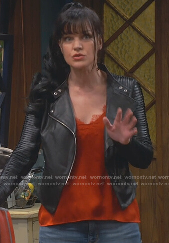 Jackie's orange lace cami and black leather jacket on Broke