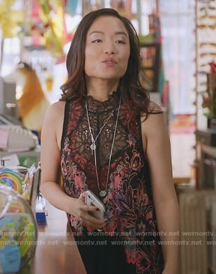 Janet's floral lace slip dress on Kims Convenience