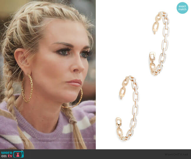 Carmine Medium Hoop Earrings by Jennifer Zeuner worn by Tinsley Mortimer  on The Real Housewives of New York City