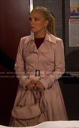 Jennifer's pink flare trench coat on Days of our Lives