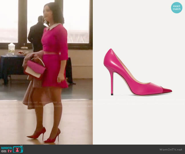 Jimmy Choo Love 100 two-tone matte and patent-leather pumps worn by Katy Keene (Lucy Hale) on Katy Keene