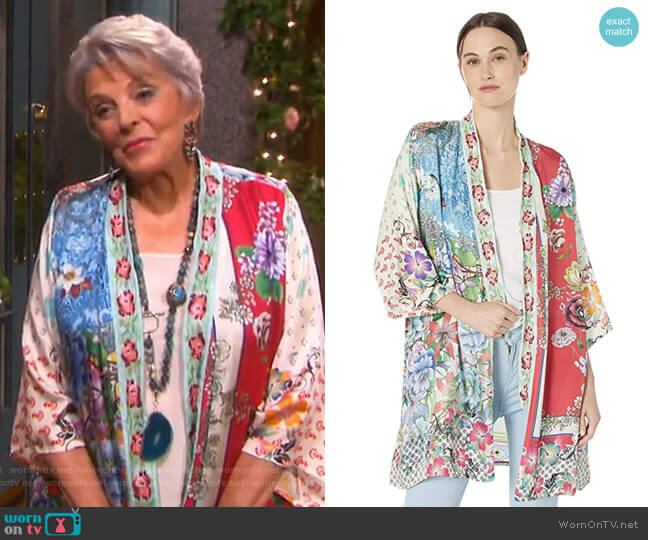 Embroidered Trim Kimono by Johnny Was worn by Susan Seaforth Hayes on Days of our Lives
