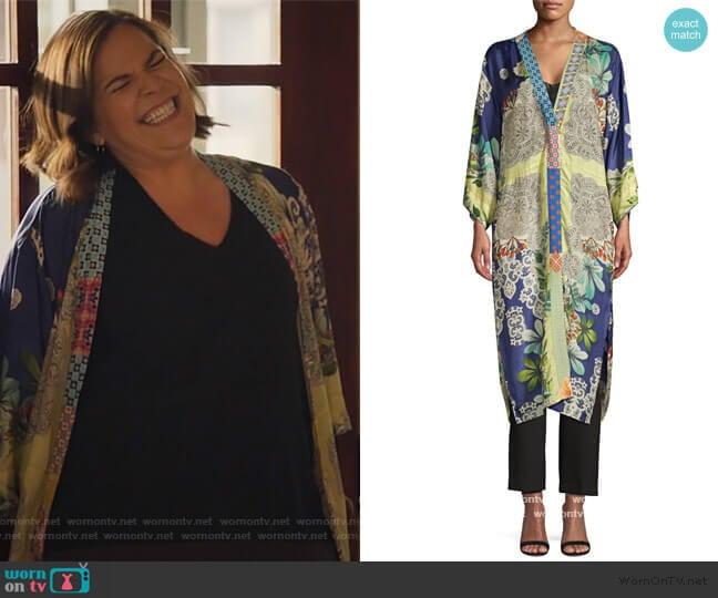 Wasabi Printed Silk Kimono by Johnny Was worn by Sara Castillo (Lindsay Mendez) on All Rise