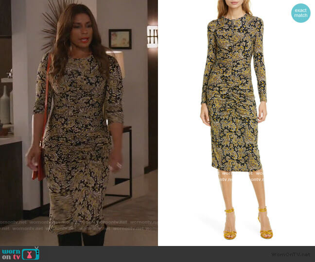 Aja Long Sleeve Paisley Dress by Joie worn by Poppy (Kimrie Lewis) on Single Parents