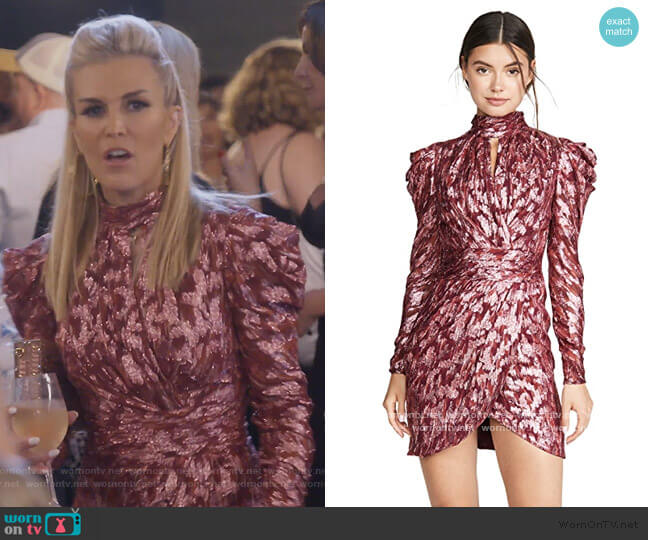 Metallic Vine Mock Neck Dress by Jonathan Simkhai worn by Tinsley Mortimer  on The Real Housewives of New York City