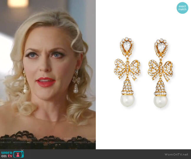 Crystal Bow Pearly Drop Earrings by Jose & Maria Barrera worn by Alexis Carrington (Elaine Hendrix) on Dynasty
