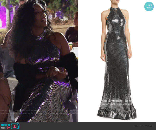 Allover Sequin Halter Dress by Jovani worn by Porsha Williams  on The Real Housewives of Atlanta