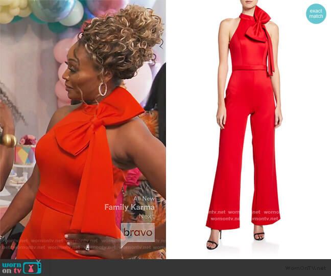 Halter Jumpsuit with Bow Detail by Jovani worn by Cynthia Bailey  on The Real Housewives of Atlanta