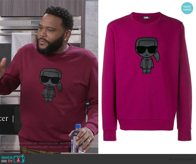 Ikonik Print Sweatshirt by Karl Lagerfeld worn by Andre Johnson (Anthony Anderson) on Blackish