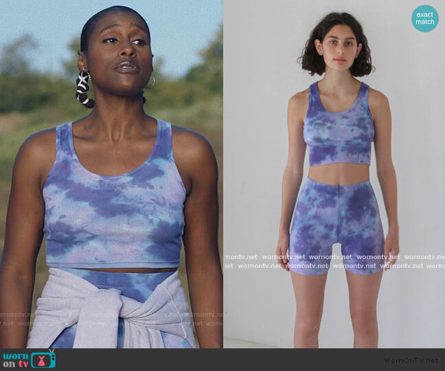 Cycle Top and Shorts in Grape by KKCo worn by Issa Dee (Issa Rae) on Insecure