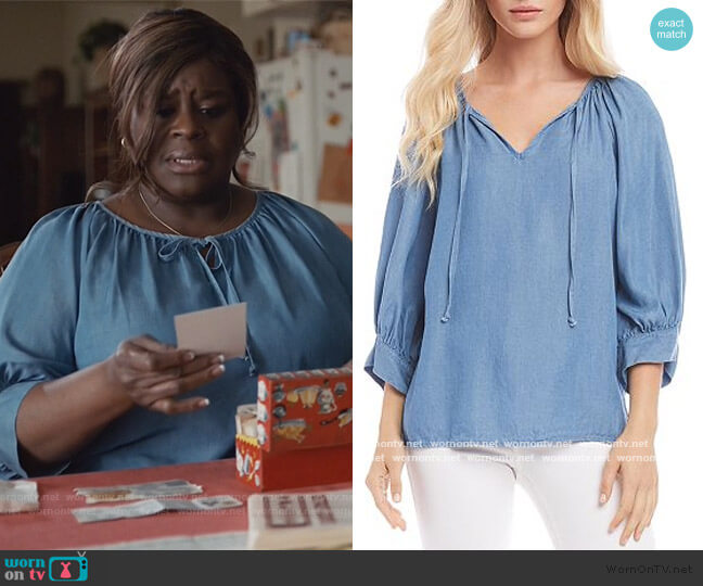 Shirred Chambray Peasant Top by Karen Kane worn by Ruby Hill (Retta) on Good Girls