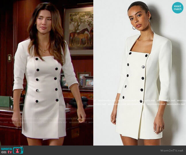 Karen Millen Military Square Neck Dress worn by Steffy Forrester (Jacqueline MacInnes Wood) on The Bold & the Beautiful
