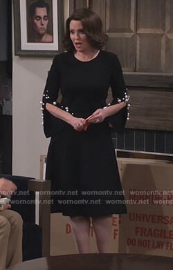 Karen's black pearl embellished sleeve dress on Will and Grace