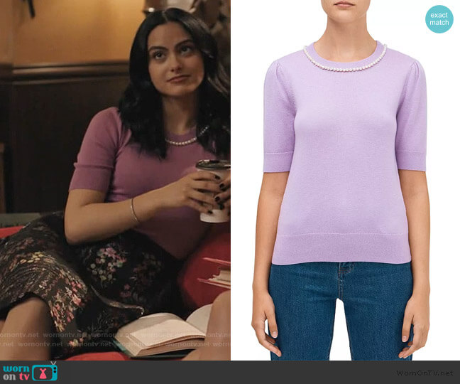 Pearl-Trimmed Sweater by Kate Spade worn by Veronica Lodge (Camila Mendes) on Riverdale
