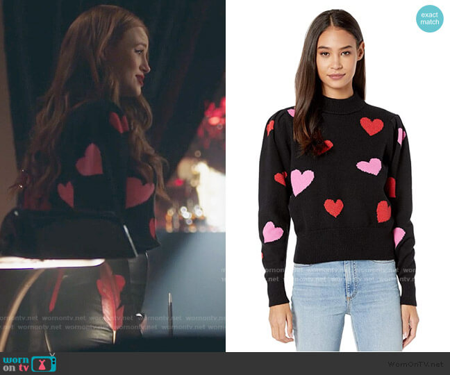 Hearts Mock Neck Sweater by Kate Spade worn by Cheryl Blossom (Madelaine Petsch) on Riverdale