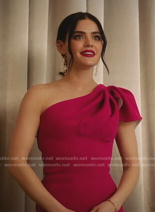 Katy's pink one-shoulder gown on Katy Keene