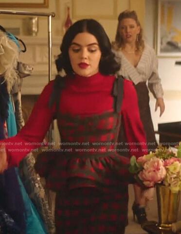 Katy's red check peplum top and skirt on Katy Keene