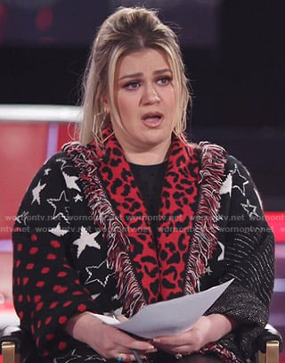 Kelly Clarkson's mixed print fringe cardigan on The Voice