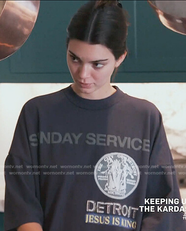 Kendal's black Sunday Service tee on Keeping Up with the Kardashians