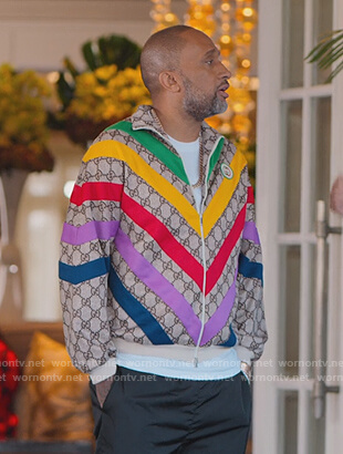 Kenya's rainbow stripe Gucci Jacket on BlackAF