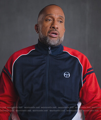Kenya's navy and red track jacket on BlackAF