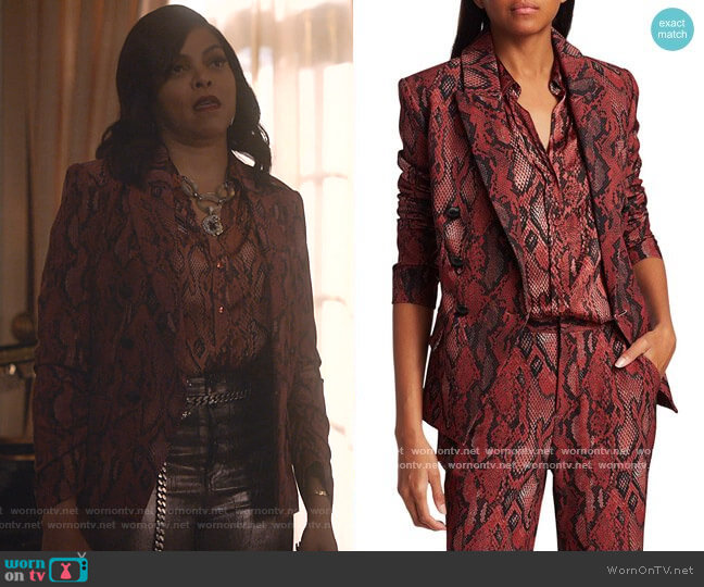 Kenzie Snake Print Blazer by L'Agence worn by Cookie Lyon (Taraji P. Henson) on Empire