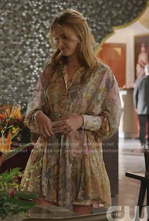 Kirby's floral ruffle shirtdress on Dynasty