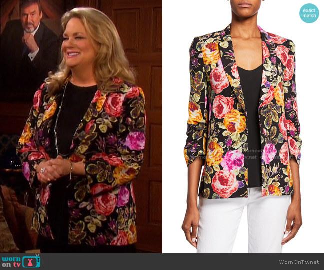 Dana Floral Jacket by Kobi Halperin worn by Anna DiMera (Leann Hunley) on Days of our Lives
