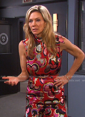 Kristen's red print tie neck dress on Days of our Lives