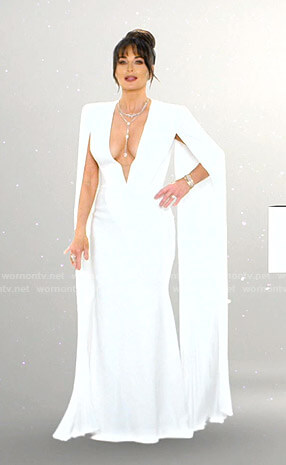 Kyle's white plunge neck cape gown on The Real Housewives of Beverly Hills Opening Credits