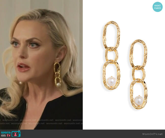 Vine Cultured Pearl Drop Earrings by Lizzie Fortunato worn by Alexis Carrington (Elaine Hendrix) on Dynasty