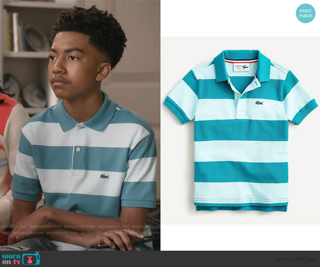 Striped Polo Shirt by Lacoste worn by Jack Johnson (Miles Brown) on Blackish
