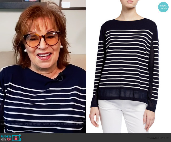 Striped Sheer Sweater by Lafayette 148 New York worn by Joy Behar  on The View