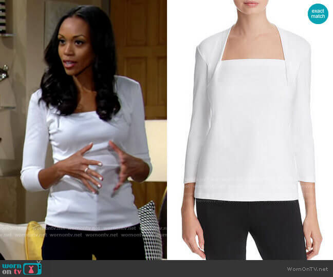 Lafayette 148 New York Giada Top worn by Amanda Sinclair (Mishael Morgan) on The Young & the Restless