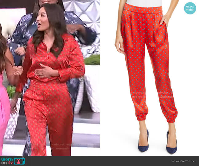 Hamlin Silk Joggers by L'Agence worn by Jeannie Mai  on The Real