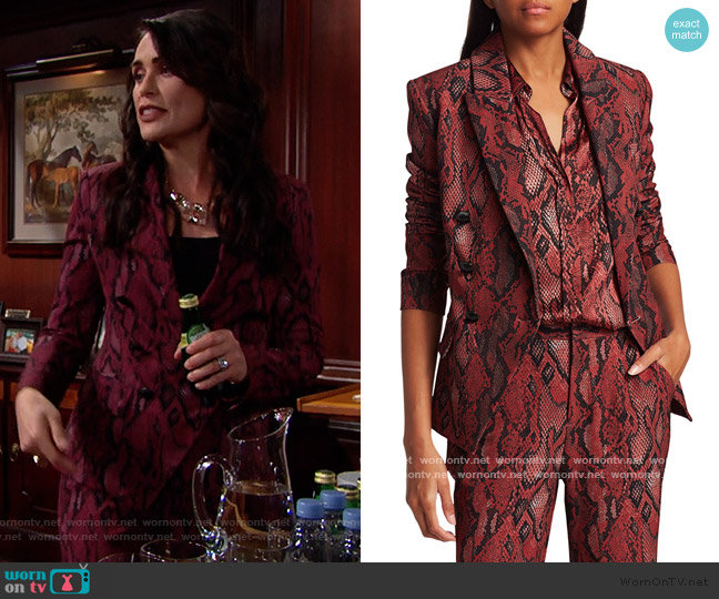 Kenzie Python-Print Blazer and Pants by L'Agence worn by Quinn Fuller (Rena Sofer) on The Bold & the Beautiful