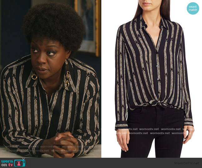 Nina Aguillette Printed Silk Blouse by L'Agence worn by Annalise Keating (Viola Davis) on HTGAWM