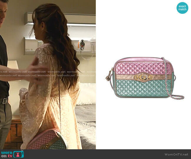 Laminated Leather Ahoulder Bag by Gucci worn by Cristal Jennings (Daniella Alonso) on Dynasty