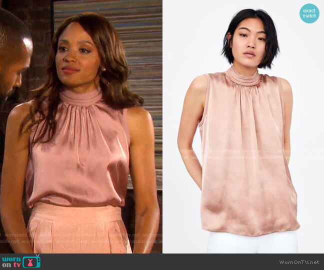 Satin Blouse with High Collar and Gathered Fabric by Zara worn by Lani Price (Sal Stowers) on Days of our Lives