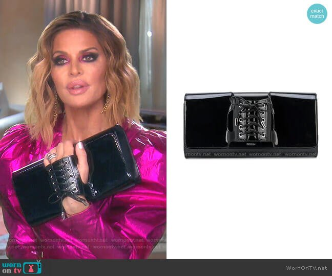 Le Corset Lace-Up Clutch Bag by Perrin Paris worn by Lisa Rinna  on The Real Housewives of Beverly Hills