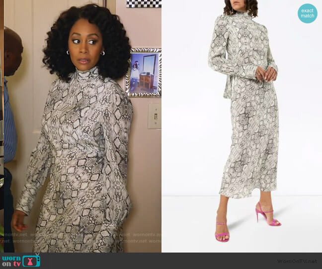 snake print pussy bow midi dress by Les Reveries worn by Lola Carmichael (Simone Missick) on All Rise