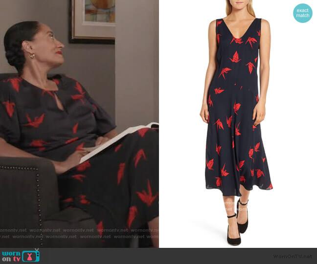 Print Midi Dress by Lewit worn by Rainbow Johnson (Tracee Ellis Ross) on Blackish